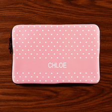 Personalized Initial Pink Polka Dots Macbook Air 11 Sleeve