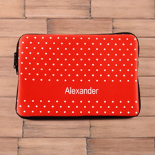 Personalized Name Red Polka Dots Macbook Air 11 Sleeve