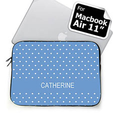 Custom Name Sky Blue Polka Dots Macbook Air 11 Sleeve