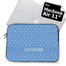 Custom Name Sky Blue Polka Dots Macbook Air 11 Sleeve