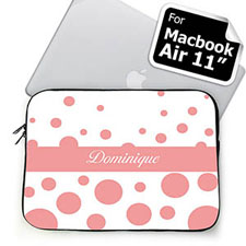 Custom Name Pink Retro Circles Macbook Air 11 Sleeve