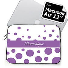 Personalized Name Lavender Retro Circles Macbook Air 11 Sleeve