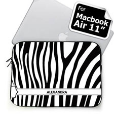 Custom Name Black & White Zebra Pattern Macbook Air 11 Sleeve