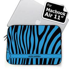 Custom Name Black & Blue Zebra Pattern  MacBook Air 11 Sleeve