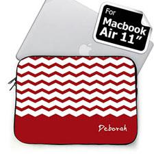 Custom Name Red Chevron Macbook Air 11 Sleeve
