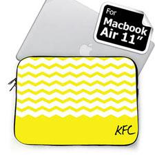 Custom Initials Yellow Chevron Macbook Air 11 Sleeve