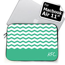 Custom Initials Mint Chevron Macbook Air 11 Sleeve