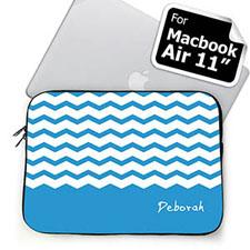 Custom Name Sky Blue Chevron Macbook Air 11 Sleeve