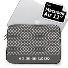 Custom Name Grey Quatrefoil Macbook Air 11 Sleeve