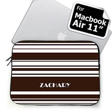 Custom Name Chocolate Stripes Macbook Air 11 Sleeve