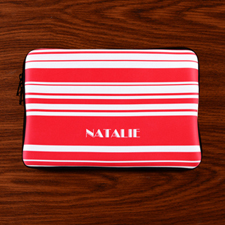 Personalized Name Hot Pink Stripes Macbook Air 11 Sleeve