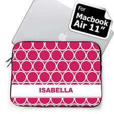Custom Name Hot Pink Hoopla Macbook Air 11 Sleeve