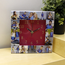 16 Collage Hot Pink Face Personalized Clock