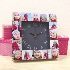 16 Collage Grey Large Face Personalized Clock