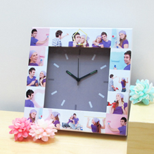 16 Collage Grey Face Personalized Clock