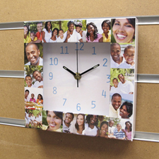 16 Collage Aqua Numbers Personalized Clock