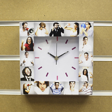 16 Collage White Face Personalized Clock