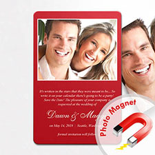 Personalized Red Wedding Announcement Photo Fridge Magnets