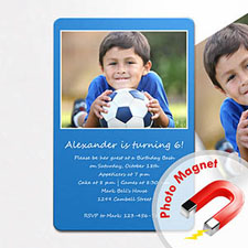 Create Blue Birthday Invitation Magnets