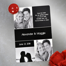 Create Save The Date Magnets, 3 Pictures Collage Black