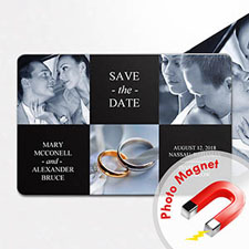 Create Tie The Knot Magnets, 3 Photo Collage Black