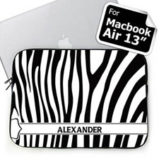 Custom Name Black & White Zebra Pattern Macbook Air 13 Sleeve