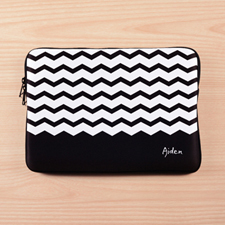 Personalized Name Black Chevron Macbook Air 13 Sleeve