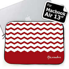 Custom Name Red Chevron Macbook Air 13 Sleeve
