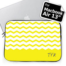 Personalized Initials Yellow Chevron Macbook Air 13 Sleeve