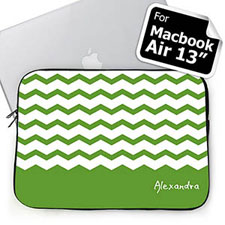 Custom Name Green Chevron Macbook Air 13 Sleeve