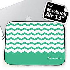 Personalized Name Mint Chevron Macbook Air 13 Sleeve