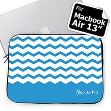 Personalized Name Sky Blue Chevron Macbook Air 13 Sleeve