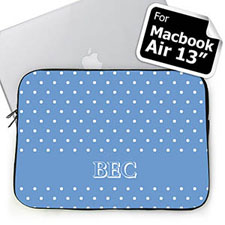 Custom Initials Sky Blue Polka Dots Macbook Air 13 Sleeve