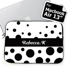 Custom Name Black Retro Circles Macbook Air 13 Sleeve