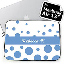 Custom Initials Sky Blue Retro Circles Macbook Air 13 Sleeve
