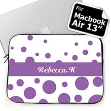Custom Name Lavender Retro Circles Macbook Air 13 Sleeve