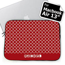 Custom Name Red Quatrefoil Macbook Air 13 Sleeve