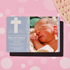 Framed Cross Boy Baptism 4x6