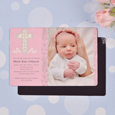 Framed Cross Girl Baptism 4x6