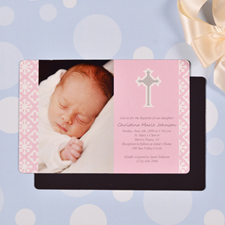Personalized Faithfully Pink Baptism 4x6 Large Photo Magnets