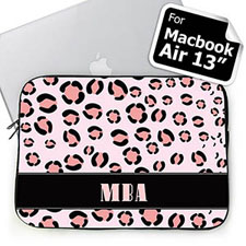 Personalized Initials Pink Leopard Pattern Macbook Air 13 Sleeve