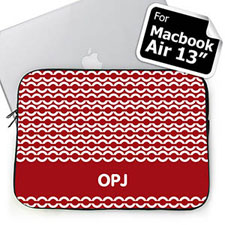 Custom Initials Red Chain Macbook Air 13 Sleeve