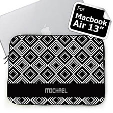 Custom Name Black Diamonds Macbook Air 13 Sleeve