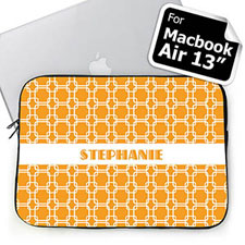 Custom Name Orange Links MacBook Air 13 Sleeve