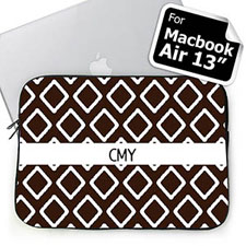 Custom Initials Chocolate Lkat MacBook Air 13 Sleeve