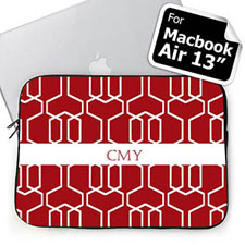 Custom Initials Red Trellis Macbook Air 13 Sleeve