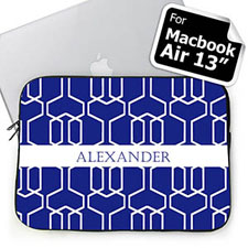 Custom Name Blue Trellis Macbook Air 13 Sleeve