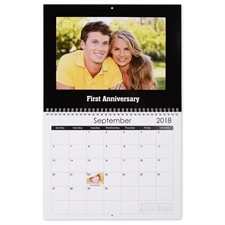 Personalized Simply Black, Large Wall Calendar (14