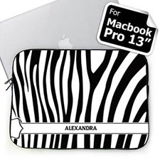 Personalized Name Black & White Zebra Pattern Macbook Pro 13 Sleeve (2015)