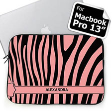 Personalized Name Black & Pink Zebra Pattern Macbook Pro 13 Sleeve (2015)
